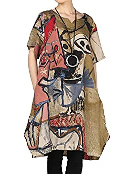 Mordenmiss Women s Summer Abstract Printing Baggy Dress with Pockets M Brown
