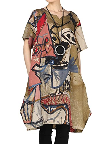 Mordenmiss Women's Summer Abstract Printing Baggy Dress with Pockets M Brown