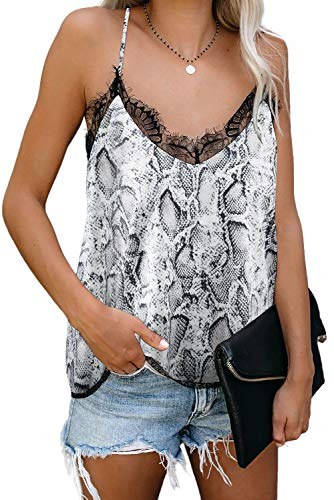 Mosucoirl Camisa sin Mangas con Cuello en V y Encaje con Cuello en V Camisa Informal sin Mangas Camisa Blusa Ligera Camisole Blouse Shirt Cami Tank Top (Gris, XL)
