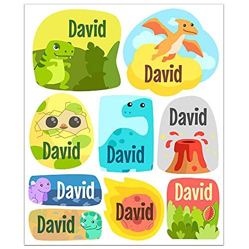 Pegatinas personalizadas con nombre. Etiquetas adhesivas para niños. (Dinosaurios)