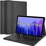 Funda Compatible con Samsung Galaxy Tab A7 10.4'' 2020 SM-T500/T505,Inalámbrico Teclado Desmontable,Ultra Slim PU Protectora Carcasa con Función de Soporte-Negro