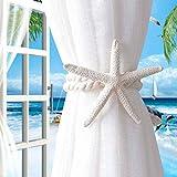 Genénica cortina de estrellas de mar natural con abrazaderas para colgar cortinas, cortinas creativas con hebillas para sujetar cortinas, accesorios de cortina, gancho, suministros para el hogar