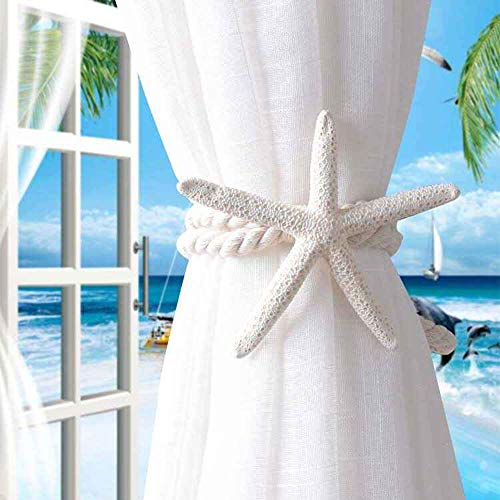 Genenic Natural Starfish Curtain Tieback, Hanging Belts Ropes Creative Curtain Holdback Buckles Curtain Accessories Hook Holder Home Supplies