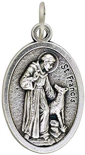 Religious Gifts St Francis Dog Tag - Saint Francis of Assisi Silver Tone Pet Medal, 1 Inch