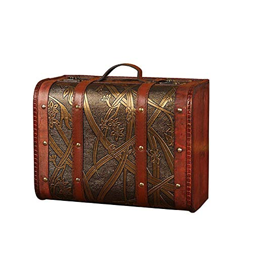 XXSHN Maletas de almacenamiento vintage (30 x 23 x 15 cm) de madera decorativa de cuero, caja de almacenamiento antiguo del tesoro, con hermoso patrón de narciso