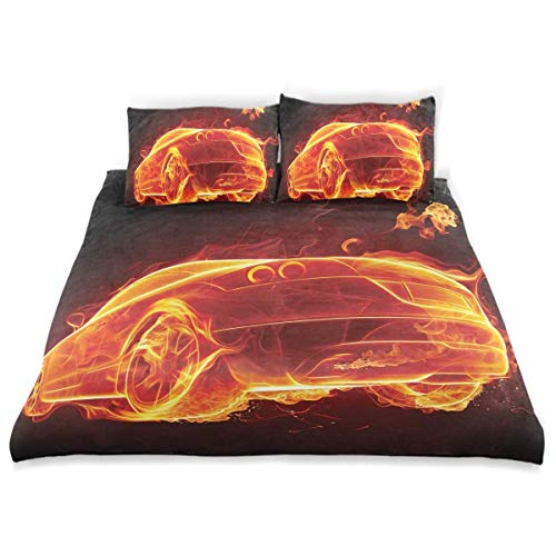 Bettbezug-Set Autos Auto in Flammen Hot Print Dekoratives 3-teiliges Bettwäscheset mit 2 Kissenbezügen Pflegeleicht Antiallergisch Weich Glatt