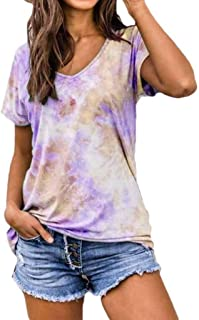 Blue, XL Onefa Womens Fashion Round Neck Tops Short Sleeve Gradient Tie-dye Printed Tops