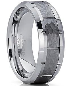 Metal Masters Co.® Herren Wolframcarbid Ring gehämmert Verlobungsringe Trauringe Hochzeitsband Bequemlichkeit Passen