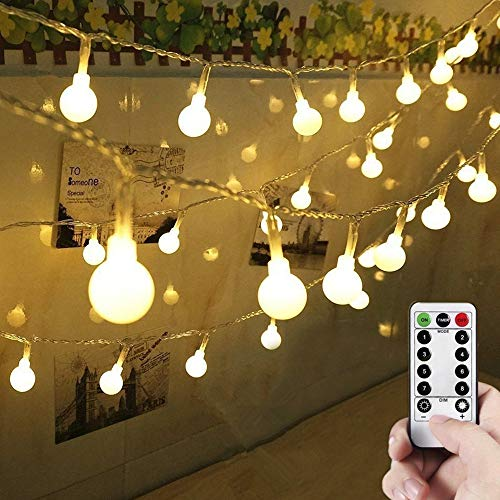 Globe String Lights, 10M 100 LED Outdoor Fairy Lights Battery Powered 8 Modes Waterproof Light with Remote Control for Garden, Party, Wedding, Indoor, Bedroom and Patio(Warm White)