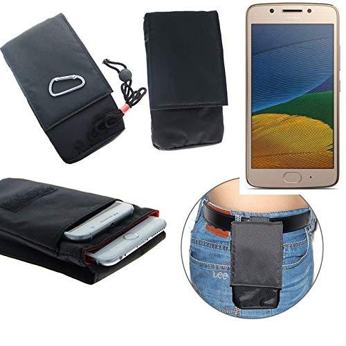 K-S-Trade® Gürtel Tasche Holster Für Lenovo Moto G5 Single-SIM Brusttasche Brustbeutel Schutz Hülle Smartphone Hülle Handy Schwarz Travel Bag Travel-Hülle Vertikal