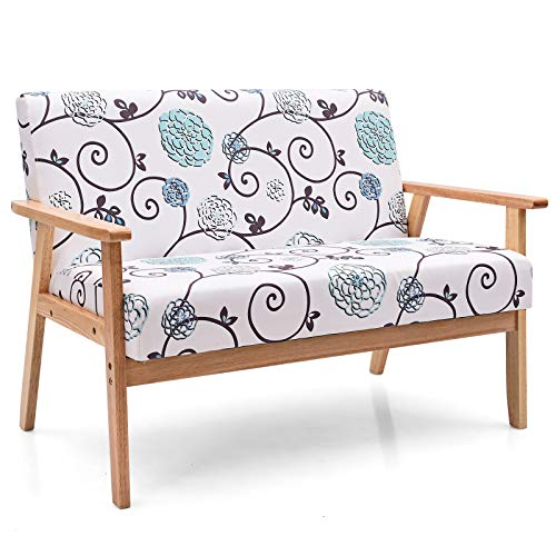 POWERSTONE Modern Upholstered Loveseat, Fabric Loveseat Sofa Recliner Couch Wooden 2-Seat Armchair for Home and Office (White, Loveseat)