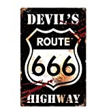 Lumanuby. 1x Schäbig Stil 'Route 66' Deko Wandschild mit