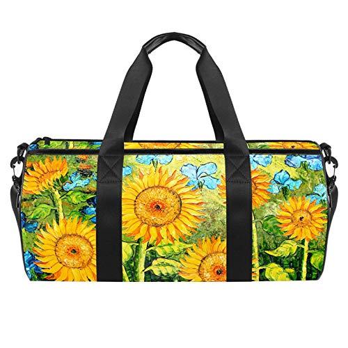 Borsa da palestra sportiva da 45,7 cm, borsa da viaggio con tasca bagnata per uomini donne, leggera, olio dipinto a girasoli
