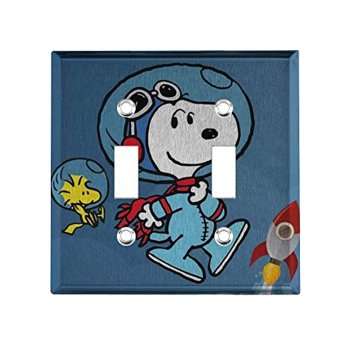 YCLL Astronaut Snoopy Decor Light Switch Plate, Double Toggle Switch Wall Plate Outlet Covers, Standard Size 4.6x4.5 in