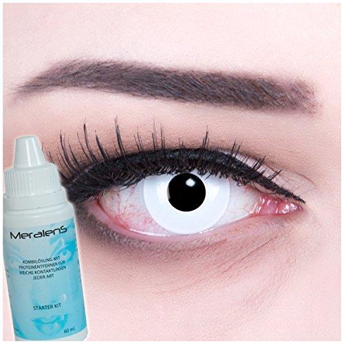 EIN PAAR Farbige Crazy Fun 14 mm 'White Out' Kontaktlinsen mit gratis Linsenbehälter und Kombilösung. Perfekt für Fasching!