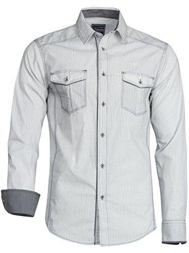Trisens Herren Hemd Shirt Langarm Baumwolle Kontrast Knopfleiste Polo Party, Farbe:Hellgrau, Größe:L