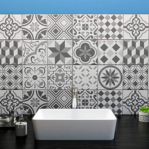 Ze Flair - Stickers Cuisine et Salle de Bain, Adhesif pour Carrelage Mural, Imitation Faïence, Imitation Carreaux de Ciment 20cm x 20cm - 15 pièces - Nuances de Gris