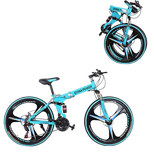 26in Folding Mountain Bike,21-Speed Mountain Bicycles Cruiser Bicycles with Disc Brakes/Full Suspension for Adults, Exercise Fitness Mens Womens Outdoor Bicycle,Non-Slip (Blue)
