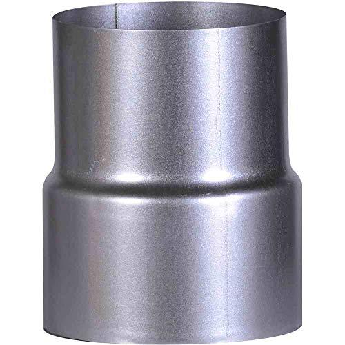 FIREFIX A110/RD FAL Reduzierungsstück Ofenanschluss ø 120 auf Wandanschluss ø 110 mm, ø 120 mm-Ofenrohre aus Stahlblech, 0,6 mm stark, innenliegend gemufft, Längen lasergeschweißt, Silber