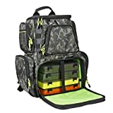 SeaKnight Fishing Tackle Backpack, Water-Resistant Large Storage with 4 Trays, Outdoor Multifunctional Box Tackle Bag for Fishing Camping Hiking Cycling (Camouflage-25L with 4 Trays)