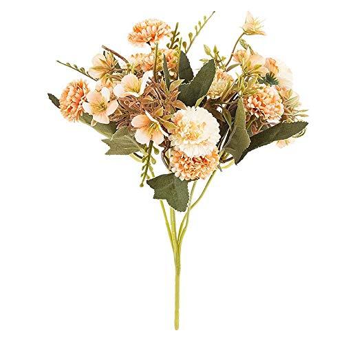 Ideen mit Herz Künstliches Blumenarrangement | Blumenstrauß | Blütenbusch | verschiede Blumen und Farben, 28 cm hoch, Blüten Ø ca. 3-4 cm (Apricot, Mini Hortensien)