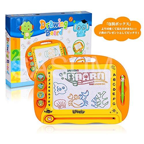 SASUMお絵かきボード大画面(38*28cm)子供おもちゃ磁石ボードらくがき教室知育おもちゃマグネットスタンプ繰り返し描けるオレンジ38*28*4.5cm