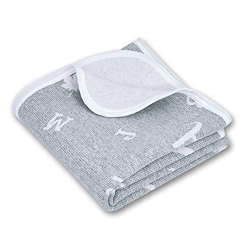 Zenssia Graue Kleinkinddecke Babydecke Kuscheldecke 75x100cm aus 100% Bio Baumwolle mit Buchstaben Muster, Wolldecke Tagesdecke für Jungen und Mädchen, Hypoallergen warm atmungsaktiv und super weich