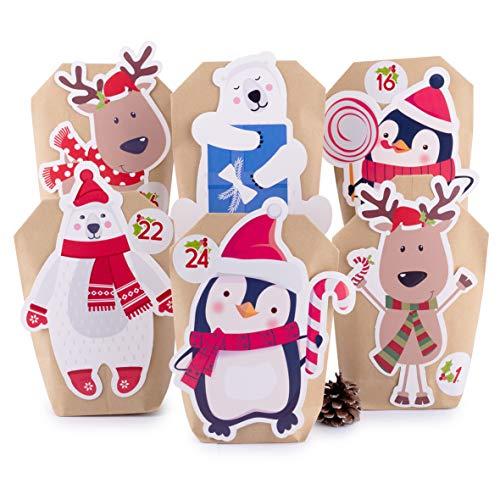 Adventskalender zum Befüllen Tier-Mix 24 Kraftpapiertüten braun Geschenktüten Weihnachten, Weihnachtskalender Bastelset inkl. Zahlenaufkleber, Accessoires und Klammern von pajoma
