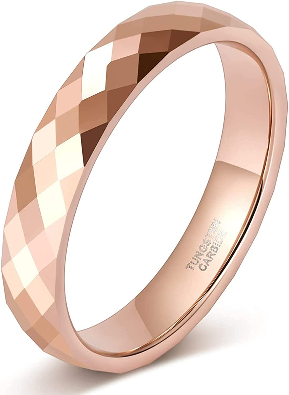 Zakk Anillo para mujer y hombre, oro rosa, negro, wolframio, estrecho, 4 mm de ancho, pulido, anillos de compromiso, alianzas, anillos de compromiso
