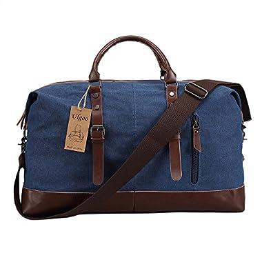 Ulgoo Travel Duffel Bag Canvas Bag PU Leather Weekend Bag Overnight (Deep Blue)