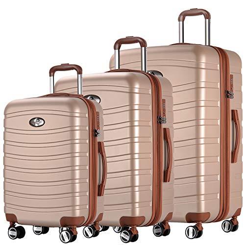 Andreas Dell REISEKOFFER REISEKOFFERSET 3 Set Trolley Koffer Farbe Shampagner TSA Schloß XL L M Kofferset REISEKOFFER