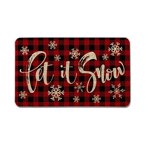 Artoid Mode Buffalo Plaid Let It Snow Decorative Doormat, Seasonal Winter Christmas Holiday Low-Profile Floor Mat Switch Mat for Indoor Outdoor 17 x 29 Inch