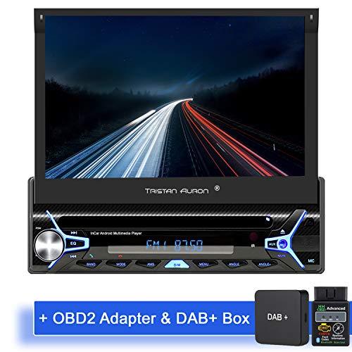 Tristan Auron BT1D7022A Android 10 Autoradio + DAB Plus und OBD 2 Box I 32GB ROM I 7'' Touchscreen I GPS Navi I Bluetooth Freisprecheinrichtung USB SD I 1 DIN