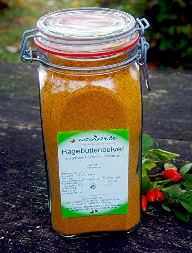Naturix24 Hagebuttenpulver aus ganzen Hagebutten gemahlen in Rohkostqualität, im Drahtbügelglas
