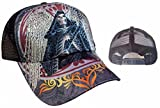 Tattoo Santa Muerte Skull Rhinestone Trucker Mesh Fashion Ball Cap Hat