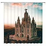 Iglesia Cristiana Cortina de Ducha Templo Sagrado Corazón de Jesús en Tibidabo en Barcelona España Decoración Tela Cortinas de baño, Poliéster Impermeable con Ganchos