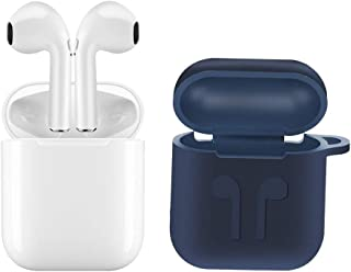 Dacom TWS GFX Bluetooth 5.0 Wireless Earphones for Apple iphone 7, 7 Plus, 8, 8 Plus in White with Dark Blue Free Gift Silicon Charging Case