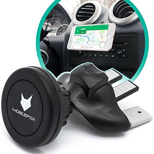 MOBILEFOX Magnet CD Schlitz KFZ Handy Halterung für Samsung Galaxy S20 S20+ Ultra S10 S10+ S10e S9 S8 S7 S6 S5 S4 Neo Mini Edge Plus schwarz - Auto Halter Slot Plättchen