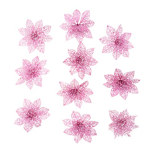 Garneck Christmas Poinsettia Flowers 10pcs Pink Glitter Christmas Poinsettias Flower Heads Christmas Tree Decorations Ornaments Christmas DIY Crafts 15cm