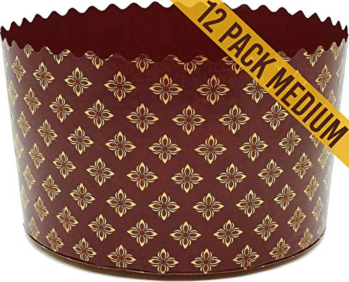 Brown and Gold Heavy Corrugated Bottom Large Easter Bread Mold Ukrainian Paska Kulich Cake Cups Baking Forms Panettone Paper Mold - D 5.1'' x H 3.3'' (D 13 cm x H 8.5 cm) - 12 Pieces Set (12)