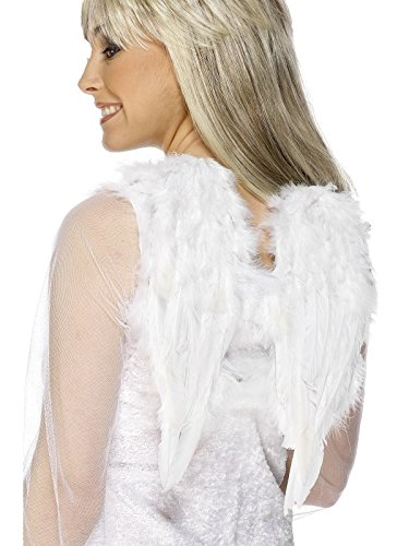 Smiffy's-20131 Alas de ángel, Blancas, con Plumas, 30cmx40cm / 12inx16in, Color, Applicable (20131)
