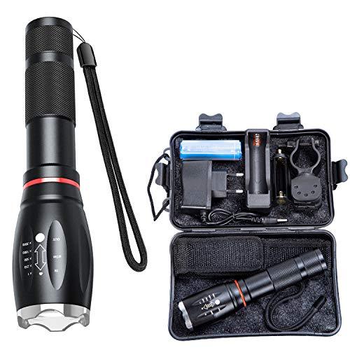 Öuesen LED Taschenlampe, Extrem hell 3000 Lumen CREE Taschenlampen XML-T6 LED Taktische Taschenlampe mit Zoom für Kinder Draussen Wandern Camping inklusive 18650 Batterie(Wasserdichte)