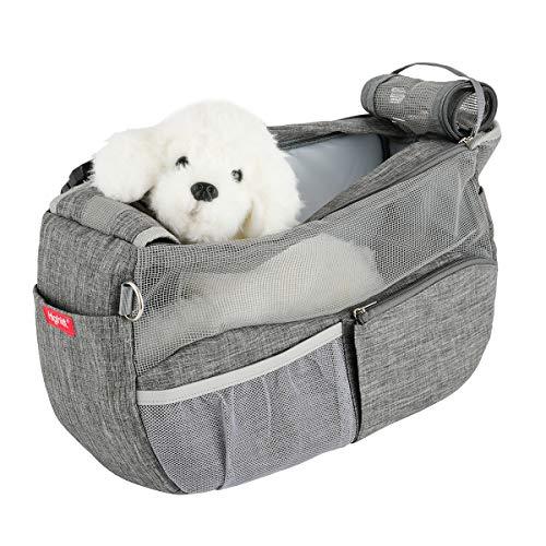 Highkit Tragetuch Hund Atmungsaktiv Haustier Schultertasche Verstellbare Schultergurt mit gepolsterter für Kleine Hunde und Katze (44 * 14 * 25cm Grau)