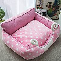 LoveIyPet ペットの巣四季ユニバーサル完全に取り外し可能と洗えるスクエアペットの巣犬小屋猫のトイレ砂犬の猫ベッドのトイレ (Color : Pink, Size : S)