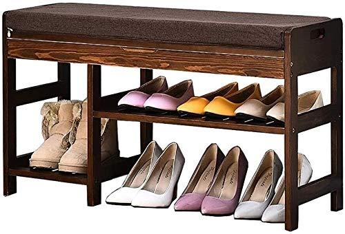 JXLBB Zapatos bastidores de Zapatos Pasillo Retro Color Zapatos heces Simple Zapato doméstico Simple Moderno Madera sólido almacenaje Taburete Zapatos bastidores (Size : 84cm)