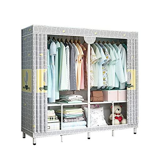 JIAO PAI Armario de dormitorio, soporte de metal, para hogar, armario, para niñas, almacenamiento abierto, instalación estable, 170 x 140 x 48 cm, tamaño: 170 x 140 x 48 cm, color: E)