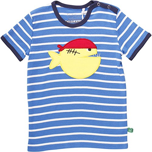 Fred'S World By Green Cotton Sailor Stripe Piranha T Baby T-Shirt, Blau (Royal Blue 019415001), 3 Ans Mixte bébé