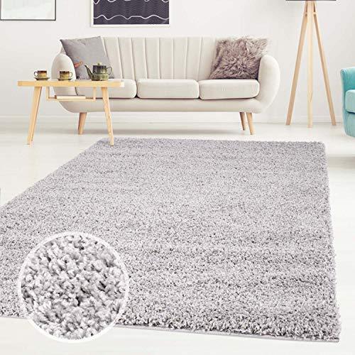ayshaggy Shaggy Teppich Hochflor Langflor Einfarbig Uni Grau Weich Flauschig Wohnzimmer, Größe: 200 x 200 cm Quadratisch