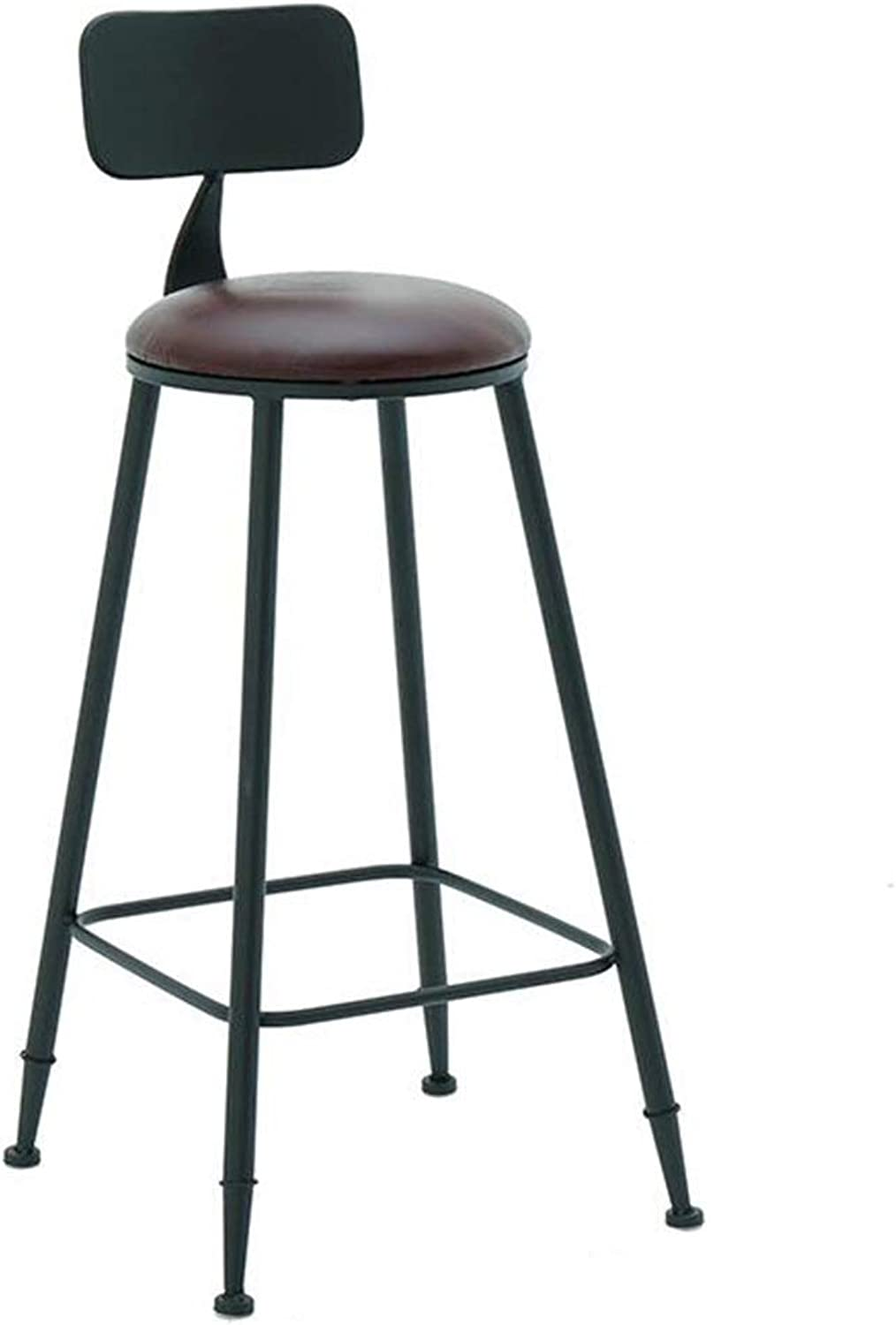 BARSTOOLRI Bar Stool with Backrest, Sturdy Durable Fashion Round Seat Ergonomics High Chair for Living Room Kitchen Office