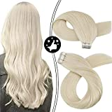 Moresoo Tape in Hair Extensions Blonde Remy Human Hair 20inch Platinum Blonde Hair Extensions Tape in 100% Real Human Hair Extensions for Thin Hair Color #60 Invisible Extensions